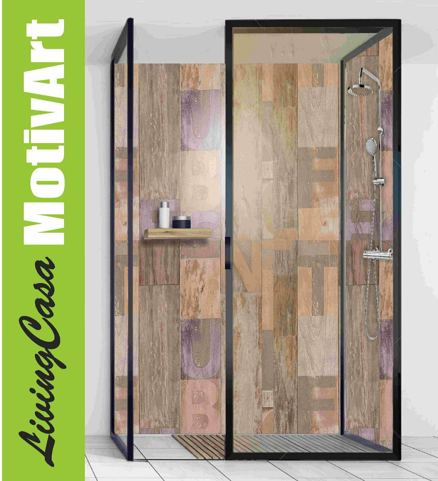 Duschrückwand Rückwand Dusche Alu Design Holz Alphabet Wood Fein